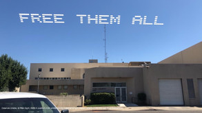 """""""Free Them All""""  Estamos Unidos  Marysville, CA   Part of, In Plain Sight, conceived by Cassils and rafa esparza, a coalition of 80 artists fighting immigrant detention and the culture of incarceration"""