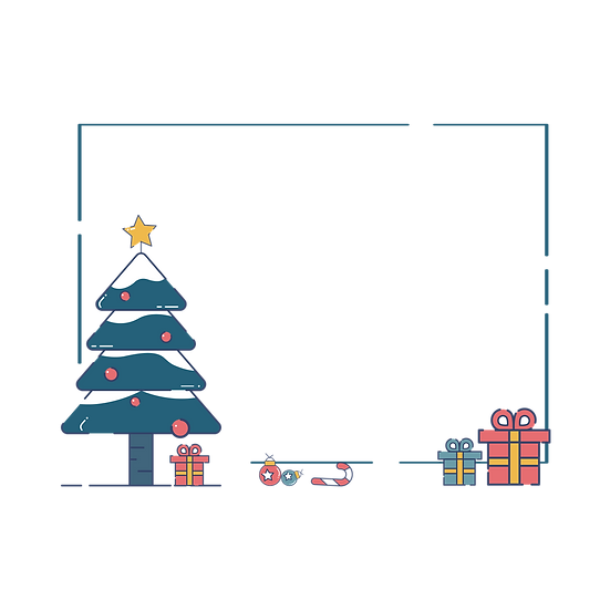 Frame with Christmas Tree and Gifts – Transparent Background, Digital Poster