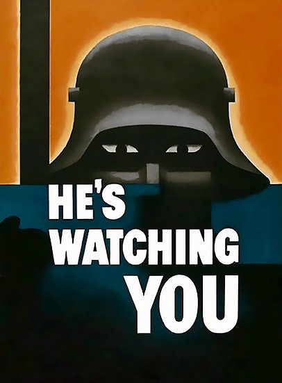 "WW1 German Soldier Propaganda Poster ""He's Watching You"" Digital Download"