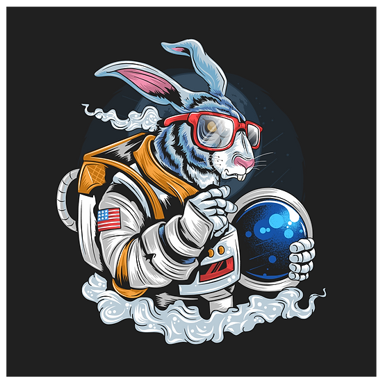 Bunny Cosmonaut Clipart - Easter PNG Transparent Image - Instant Download