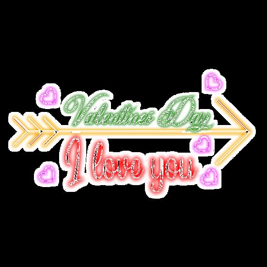 Valentines Day, I Love You Inscription - PNG Transparent Image, Instant Download