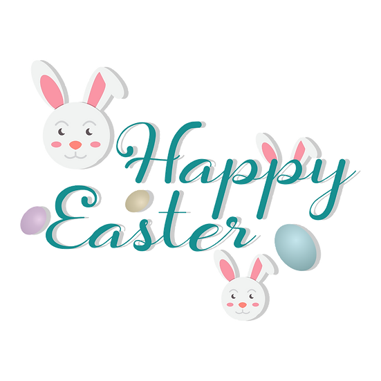 Happy Easter Emerald Sea Inscription - PNG Transparent Image - Instant Download