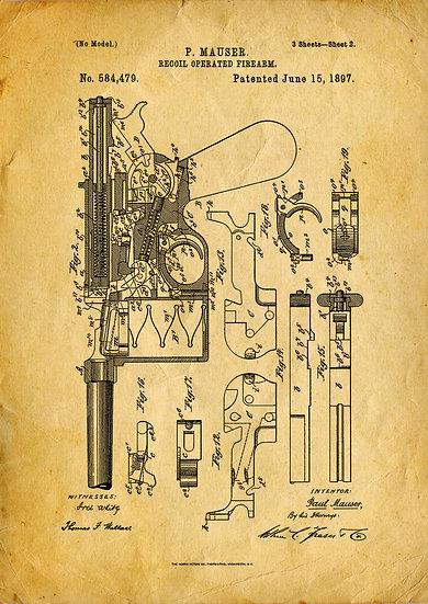 WW1, WW2 Mauser C96 Patent Print Digital Download