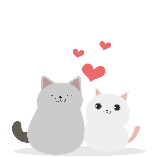 Adorable Cats in Love - Valentine's Day PNG Transparent Image - Instant Download
