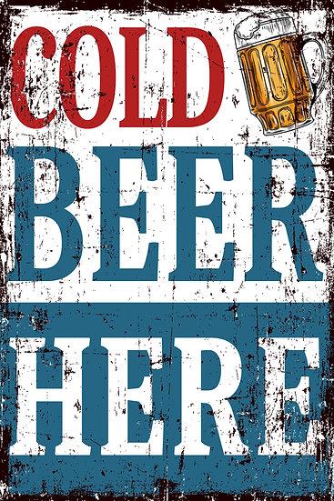 "Modern Farmhouse Poster ""Cold Beer Here"", Beer Print Digital Download"