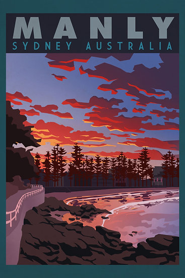 Manly Beach Print, Sydney Poster, Travel Wall Art Digital Download