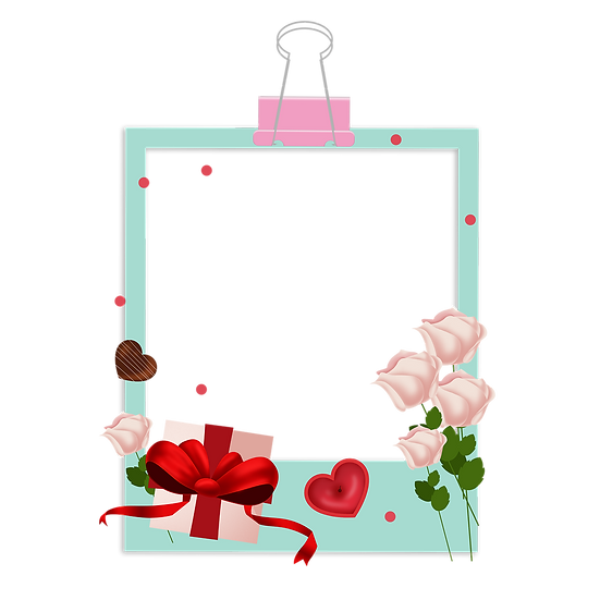 Frame with Gift and Roses - Valentine's Day Transparent Image - Instant Download