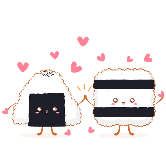 Onigiri Love - Valentine's Day PNG Transparent Image - Instant Download