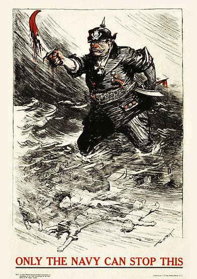 """WW1 American Propaganda Poster """"Only The Navy Can Stop This"""" Digital Download"""