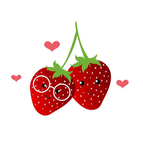 Strawberry Couple - Valentine's Day PNG Transparent Image - Instant Download