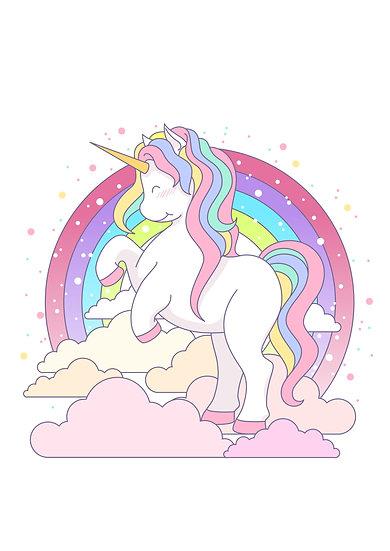 Kawaii Unicorn Printable Digital Files: SVG, PNG, DXF, AI, EPS, JPEG