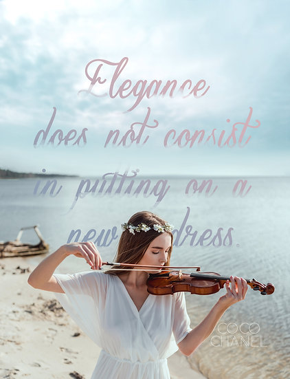 """Coco Chanel Quote Print """"Elegance Does Not Consist in"""" Digital Download"""