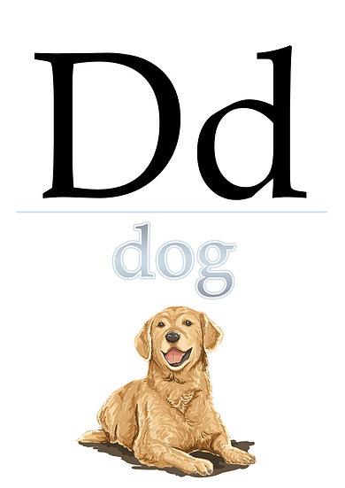 """Letter """"D"""", Printable Flash Cards, English Alphabet for Kids Digital Download"""