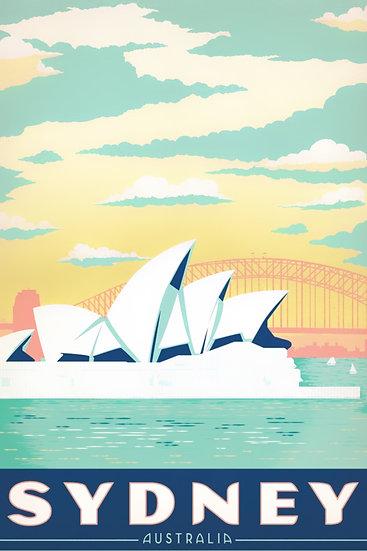 Sydney Opera House Print, Sydney Vintage Poster, Travel Prints Digital Download