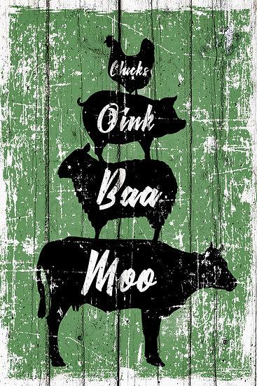 "Farm Animals Poster ""Moo Baa Oink Chicks"", Distressed Farmhouse Digital Download"