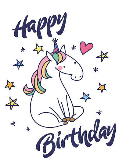 Happy Birthday Party Unicorn Printable Digital Files: SVG, PNG, DXF, AI