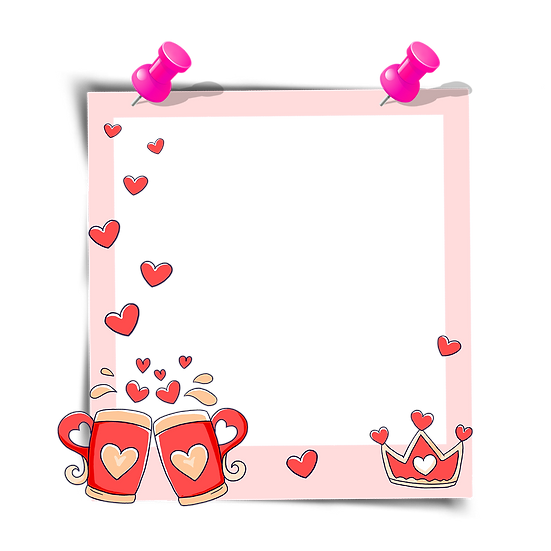 Frame with Crown and Couple of Mugs, Valentine's Day PNG Image, Instant Download