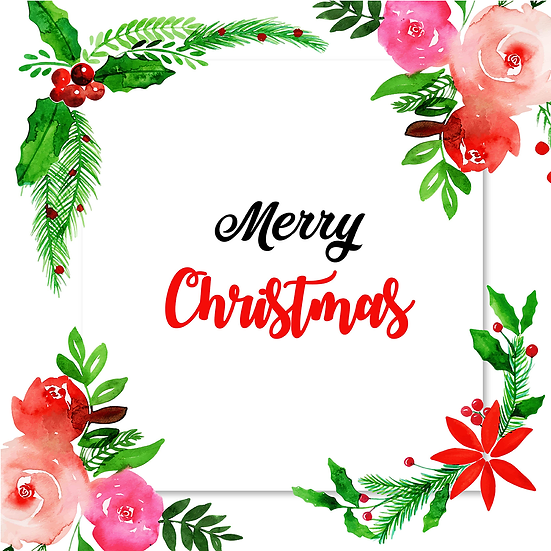 Merry Christmas Greeting Card with Flowers – Digital Download, Digital Poster