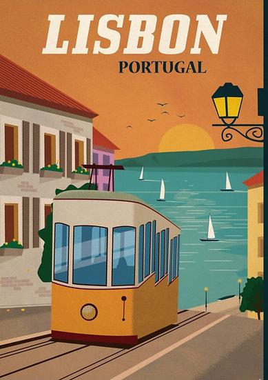 Lisbon Wall Art, Portugal Vintage Poster, Travel Prints Digital Download