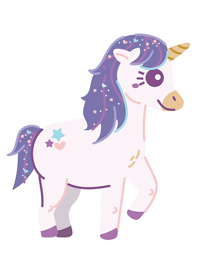 Purple Unicorn Printable Digital Files: SVG, PNG, DXF, AI, EPS, JPEG