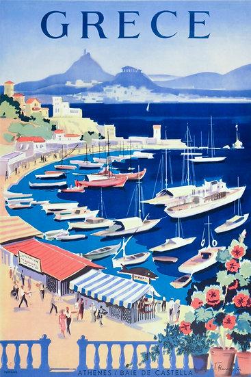 Greece Vintage Travel Poster, Athens Poster, Travel Wall Art Digital Download