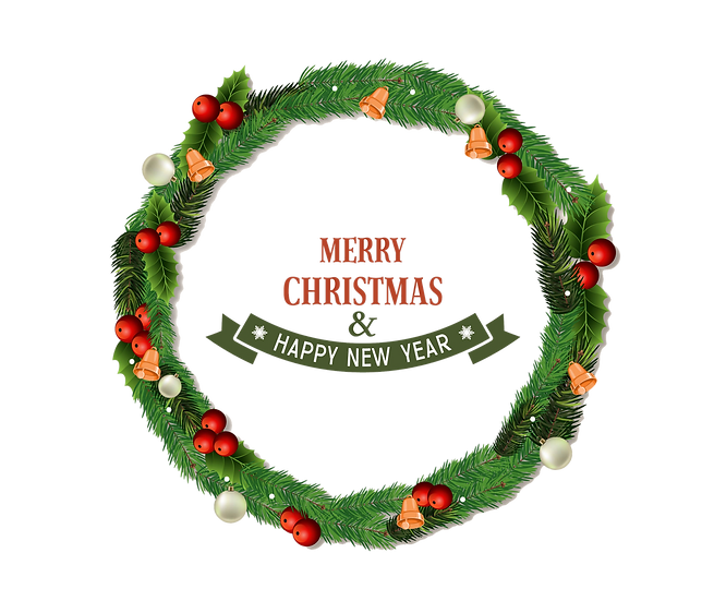 Merry Xmas and Happy New Year Wreath Frame – Digital Poster, Digital Download