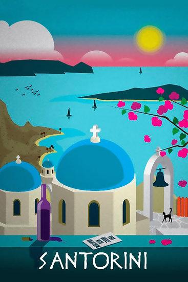 Santorini Print, Greece Artwork, Travel Wall Decor Digital Download