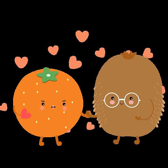 Orange and Kiwi - Valentine's Day PNG Transparent Image - Instant Download