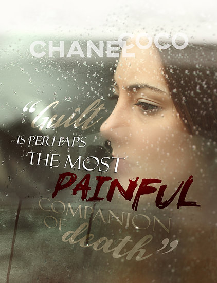 """Coco Chanel Quote Poster """"Guilt is the Most Paintful Companion"""" Digital Download"""