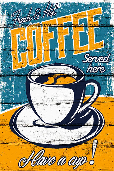 "Farmhouse Poster ""Fresh & Hot Coffee"", Distressed Farmhouse Digital Download"