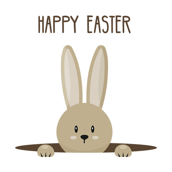 Bunny in Hole Clipart - Easter PNG Transparent Image - Instant Download