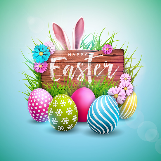 Happy Easter Awesome Greeting Card - PNG Transparent Image - Instant Download