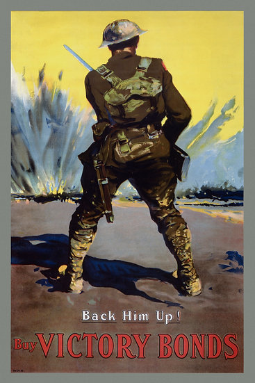 "WW1 Canadian Propaganda Poster ""Back Him Up! Buy Victory Bonds"" Digital Download"