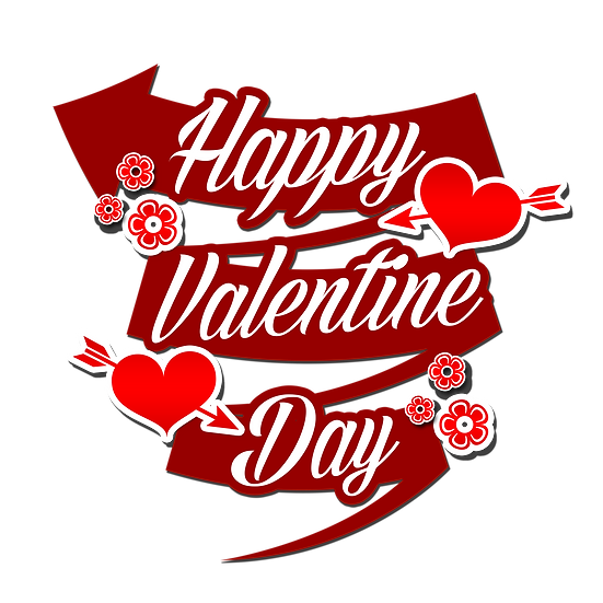 Happy Valentine Day Magical Inscription - Transparent Image - Instant Download