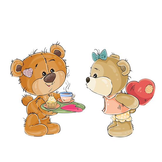 Tea Time with Teddy Bears - Valentine's Day PNG Image - Instant Download