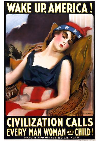 "WWI American Propaganda Print ""Wake Up America!"" Digital Download"