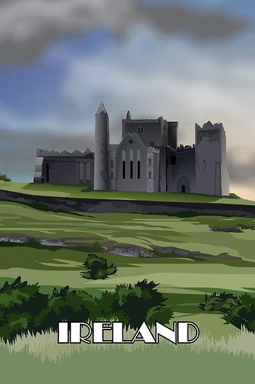 Ireland Castle Retro Wall Art, Medieval Castles, Travel Poster Digital Download