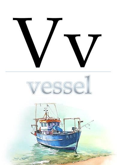 """Letter """"V"""", Printable Flash Cards, English Alphabet for Kids Digital Download"""