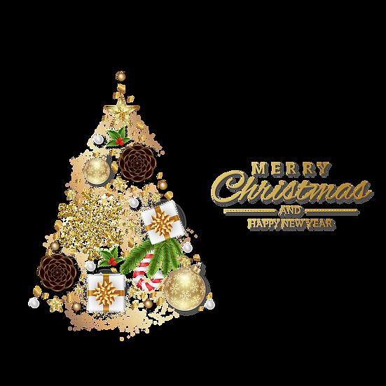 Christmas Tree Greeting Card - Transparent Background, Digital Download