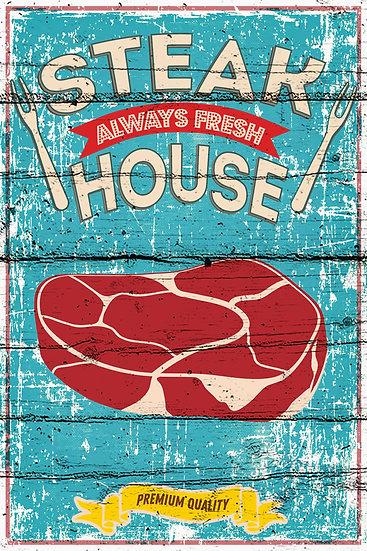 """Farmhouse Print """"Steak House - Always Fresh"""", Farmhouse Kitchen Digital Download"""
