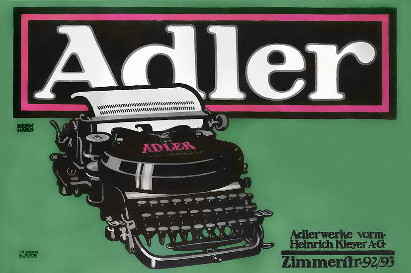 Vintage Adler Typewriter Poster. Retro Style Office/ Home Decor Digital Download