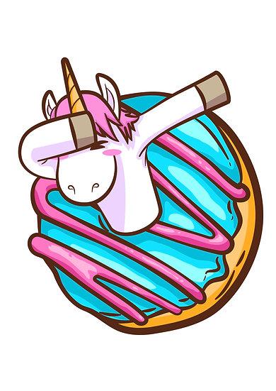 Unicorn Donut Printable Digital Files: SVG, PNG, DXF, AI, EPS, JPEG