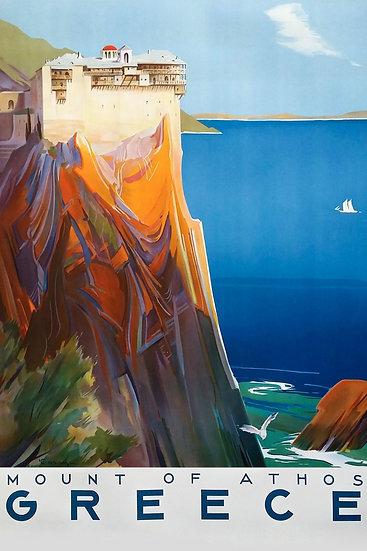 Mount of Athos Vintage Print, Greece Mountain, Travel Wall Art Digital Download