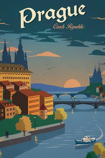 Prague Vintage Poster, Czech Republic Art, Travel Wall Art Digital Download
