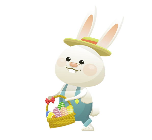 Bunny Holding a Basket with Eggs - Easter Transparent Image - Instant Download
