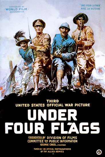 """WW1 American Affiche Poster """"Under Four Flags"""" Digital Download"""