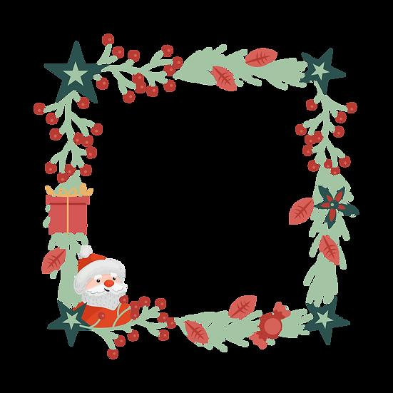 Amazing Christmas Frame with Santa – Transparent Background, Digital Poster