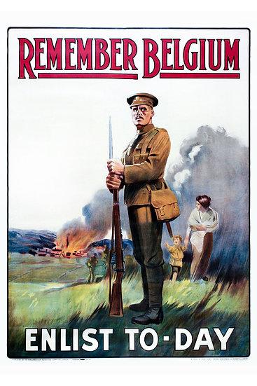 "WW1 British Propaganda Poster ""REMEMBER BELGIUM ENLIST TO-DAY"" Digital Download"