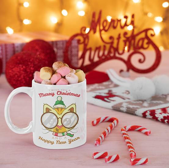 I Wish You a Merry Christmas Greetings Mug for Coffee / Tea, White Ceramic 7