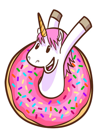 Happy Unicorn with Donut Printable Digital Files: SVG, PNG, DXF, AI, EPS, JPEG
